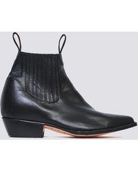 Chamula Negro Leather Botin Vaquero Boot - Black