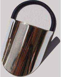 Saskia Diez Silver Oval Hair Tie - Multicolor