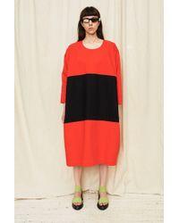 Nancy Stella Soto Denim Two Toned Dress - Red