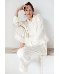 Sleeper Pyjama Set In Cream Stripes - Natural