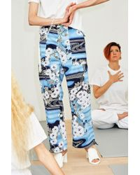 Collina Strada - Blue Garden Print Monk Trousers - Lyst