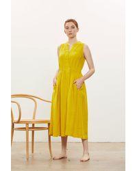 Black Crane Mustard Classy Tank Dress - Yellow