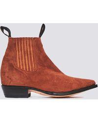 Chamula Cognac Leather Botin Vaquero Boot - Brown