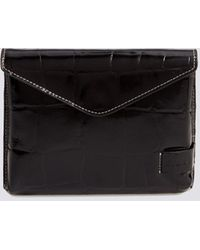 STAUD Holly Convertible Croc Embossed Leather Bag - Black