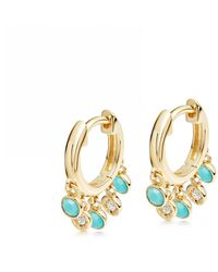 Astley Clarke Biography Droplet Turquoise Hoop Earrings - Multicolour