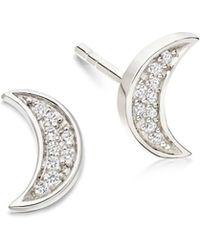Astley Clarke Mini Moon Biography Stud Earrings - Multicolour