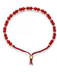 Astley Clarke Sea Bamboo Beaded Skinny Kula Bracelet - Red