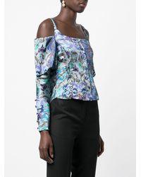 Koche Off-shoulder Printed Blouse - Blue