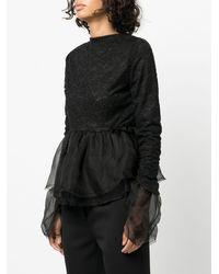 Renli Su Tulle Peplum Style Top - Black