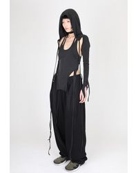 Hyein Seo Layered Halter Top With Hooded Sleeve - Black