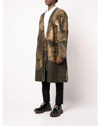 Ziggy Chen Abstract Print Robe Coat - Green