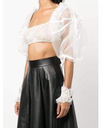 Renli Su Ruffle Sleeve Crop Top - White