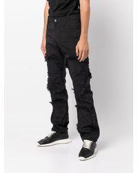 KANGHYUK Airbag Fringe Zip Patched 5 Pocket Trouser - Black