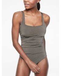 ed3b4b15d9a Athleta Aqualuxe Molded Square Plunge One Piece in Black - Lyst