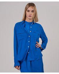 ATM Crepe Georgette Button Down Shirt - Blue