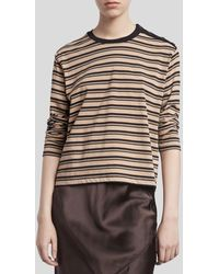 ATM Striped Pima Cotton Long Sleeve Boy Tee - Khaki/ Black Stripe - Multicolor