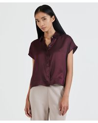 ATM Silk Charmeuse Camp Shirt - Red