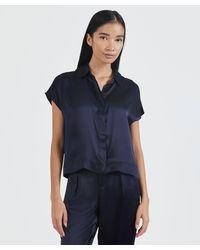 ATM Silk Charmeuse Camp Shirt - Blue