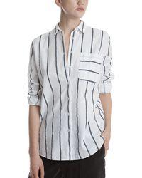 ATM - Railroad Stripe Cotton Boyfriend Shirt - Lyst