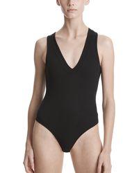 ATM Modal Rib V-neck Bodysuit - Black