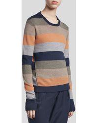 ATM Merino Wool Striped Crew Neck Sweater - Multicolor Combo