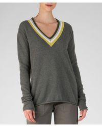 ATM Cashmere Deep V-neck Sweater - Gray