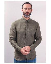 Belstaff Pitch Linen Shirt Colour: Sage - Green