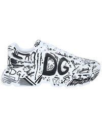 Dolce & Gabbana - Hand-painted Graffiti Calfskin Nappa Daymaster Sneakers - Lyst