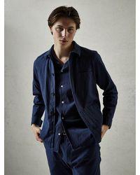 Atterley Chet Jacket Seersucker Navy - Blue
