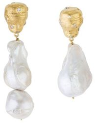 Joanna Laura Constantine Feminine Waves Earrings Swarovski & Pearl - White