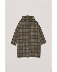 YMC Cocoon Hood Coat - Olive Check - Green