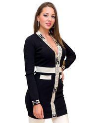 Elisabetta Franchi Robe Manteau In Maglia Con Logo - Black
