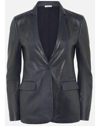 P.A.R.O.S.H. Navy Paneled Leather Blazer - Blue