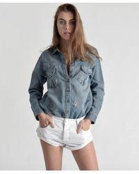 One Teaspoon White Beauty Bandits Denim Shorts