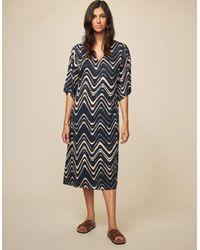 Diega Roca Swirl Dress - Ecru - Black
