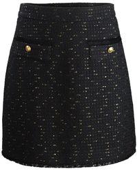 Marella Basket-weave Short Skirt - Black