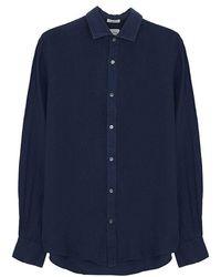 Hartford Sammy Linen Shirt In Deep Blue