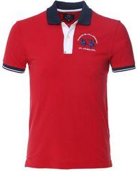 La Martina Slim Fit Contrast Trim Polo Shirt Colour: Red