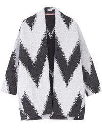INTROPIA Aztec Cocoon Jacket - Off / Grey - White