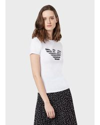 Emporio Armani Jersey T-shirt With Eagle Print - White