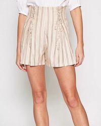 Joie Peach Cream Pinstripe Shorts - Natural