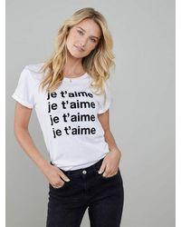 South Parade Lola 'je T'aime' T Shirt - White / Black Flock