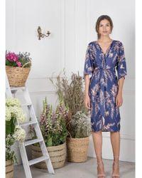 Atterley - Oriental Bird Knot Front Kimono Dress Blue - Lyst