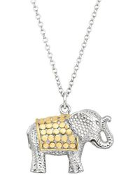 Anna Beck Elephant Pendant Charity Necklace - Silver & Gold - Metallic