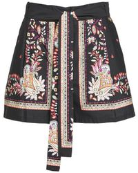Twin Set Shorts With Foulard Print - Black