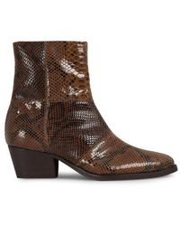 H by Hudson Fogg Snake Print Brown Leather Boot