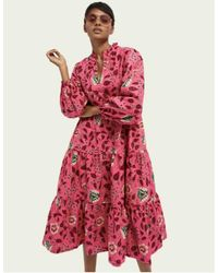 Scotch & Soda Hot Pink Long Sleeve Floral Print Voluminous Midi Dress