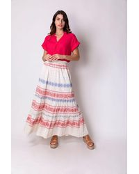 Haris Cotton Eukleia Back Buttoned Blouse - Multicolour