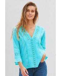 Aspiga Valentina Organic Cotton Embroidered Lace Shirt   Turquoise - Green