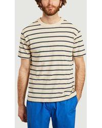 Loreak Mendian Striped T-shirt Ecru - White
